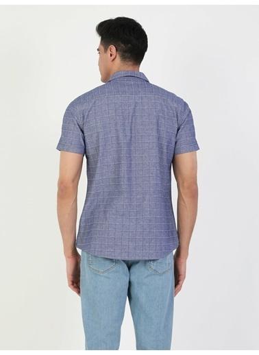 Colin's Slim Fit Standart Kol V Yaka Erkek Gömlek Kısa Kol Mavi